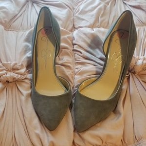 Jessica Simpson gray kitten heels